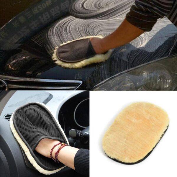 Car Window Cleaning Beige Car Cleaning Cloth Wool Glove Supplies Accessories Cleaning Wash wash microfiber For Car car W1C0 Car accessories