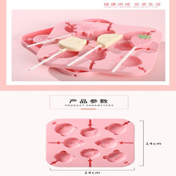 Cartoon Silicone Mold Diy Candy Lollipop Chocolate Ice Cube Mold Baking Accessories Ice Cream Popsicle Mold Kitchen