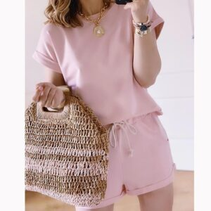 Casual solid new women's two piece suit 2020 Summer New Elastic Waist Solid Color Leisure Clothes Set women 2 piece set O-Neck Kitchen