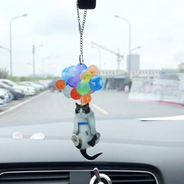 Cat Car Hanging Ornament with Colorful Balloon Car Hanging Ornament Car Interior Decor Car Pendant Creative Cute Cat 10 Styles Car accessories