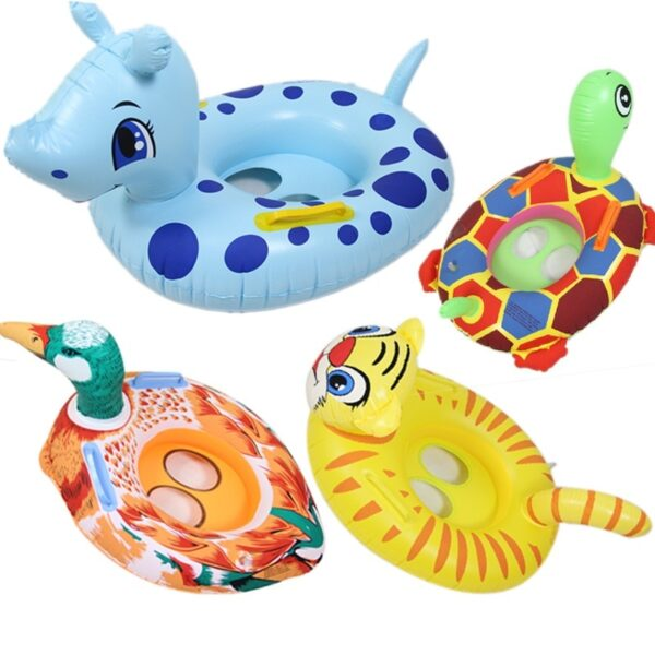 Children's Cartoon Turtle Water Swimming Circle Duck Hippo Elephant Angry Bird Swimming Ring Inflatable Floating Ring For 1-5 Swimming
