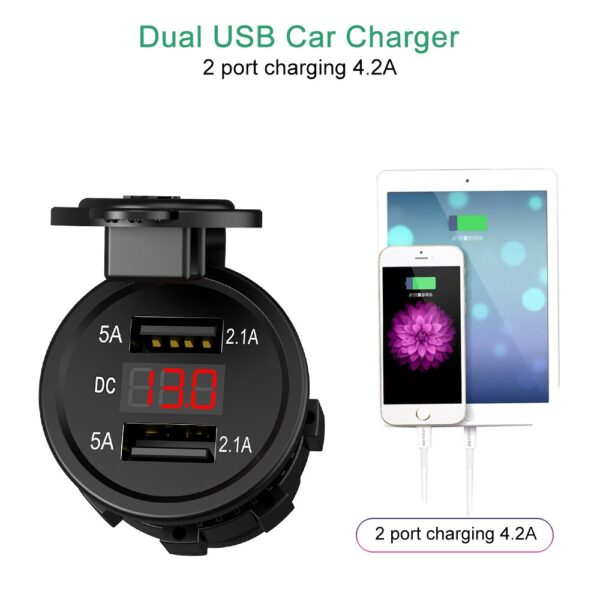 DC 12-24V 4.2A Dual USB Motorcycle Cigarette Lighter Car Cigarette Lighter Charger Socket Charger LED Digital Voltmeter Monitor Fashion Life & Accessories Iwatch & Accessories