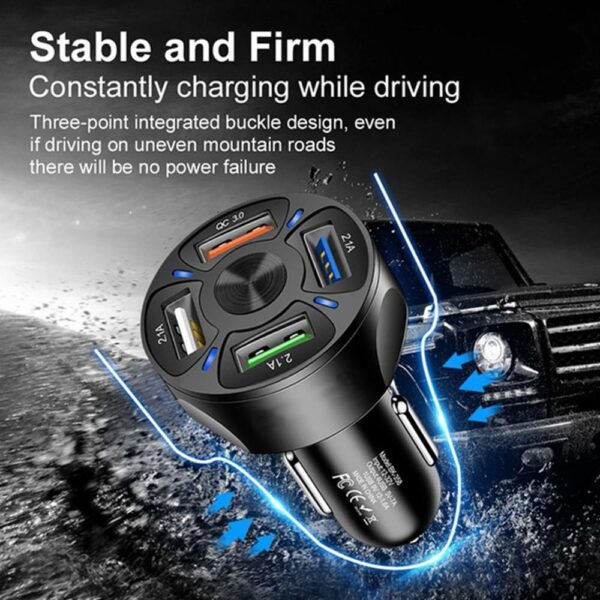 DC 12-32V QC 3.0 Quick Car Charger Charge 4-USB Port Universal USB USB port IPhone cables is For Samsung Fit suitable For m W1U7 Car accessories