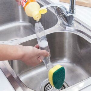 Dish Washing Tool Cleaning Brush Soap Dispenser Handle Refillable Bowls Cleaning Sponge Brush For Kitchen Organizer Accessories Kitchen