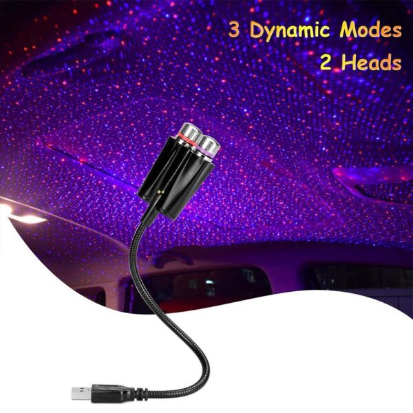 Dual Color Sound Activated LED Starry Sky Night Light 5V USB Star Galaxy Lamp for Car Roof Interior Atmosphere Ambient Projector Car accessories