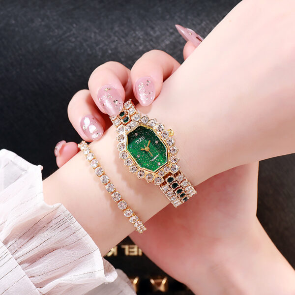Dzg Hot-Selling Women Bracelet Watch Square Female Watch Full of Diamond Women's Wristwatch Fashion Casual Star-Faced Watch Fashion Life & Accessories Iwatch & Accessories