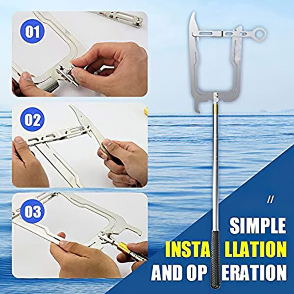 Easy Boat Hook Long Distance Cable Threader Telescopic Boat Hook Multipurpose Mooring Hook For Docking Mooring Swimming