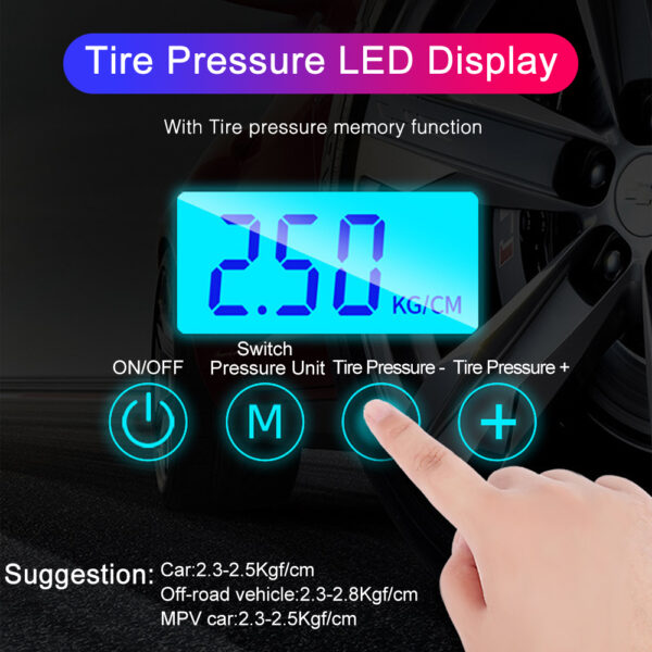 Electric air pump tyre inflators Hand-Held Car Vacuum Cleaner Car Vacuum Cleaner Air Pump Automatic Portable 25000Pa Car accessories
