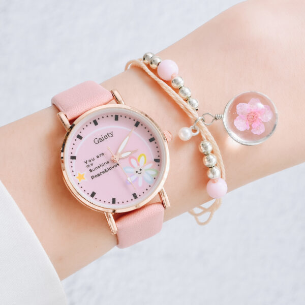 Fashion Brand Watches For Women Cartoon Pattern Flowers Pink Watch Girls Students Leather Lovely Quartz Bracelet Wristwatches Fashion Life & Accessories Iwatch & Accessories
