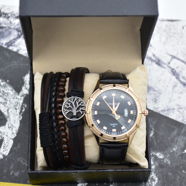 Fashion Mens Watches With Bracelets Top Brand Business Quartz Watch Leather Waterproof Luminous Wirstwatch Set Gift Box For Men Fashion Life & Accessories Iwatch & Accessories