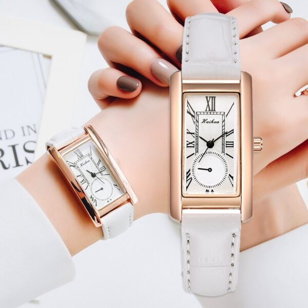 Fashion Rectangle Dial Leather Strap Watches For Women Casual Business Wristwatch Gold Female Clock Quartz Watch Relogio Feminin Fashion Life & Accessories Iwatch & Accessories
