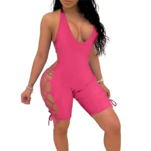 Fashion Short Jumpsuits Women Hot Night Clubwear Bodycon Soild Color Playsuit Lace Up One Piece Backless V-neck Rompers Bodysuit Kitchen