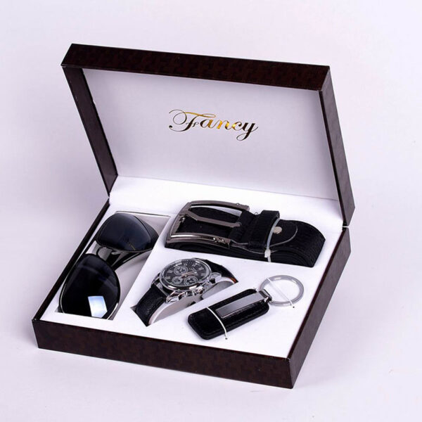 Fashion Watch Men Luxury Gift Set Sunglasses Keychain Top Quality Belt Multiple Time Zone Wrist Watch For Father Men Gift Fashion Life & Accessories Iwatch & Accessories