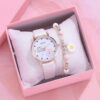 Fashion Women Leather Watches 2PCS With Bracelet Set Casual Student Flowers Dial Sports Dress Wristwatch Reloj Mujer Fashion Life & Accessories Iwatch & Accessories