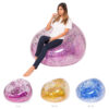 Fast Inflatable Lazy Bag Air Sleeping Bag Outdoor Camping Portable Air Banana Beach Bed Rose Gold Glitter Inflatable Chair Sofa Swimming