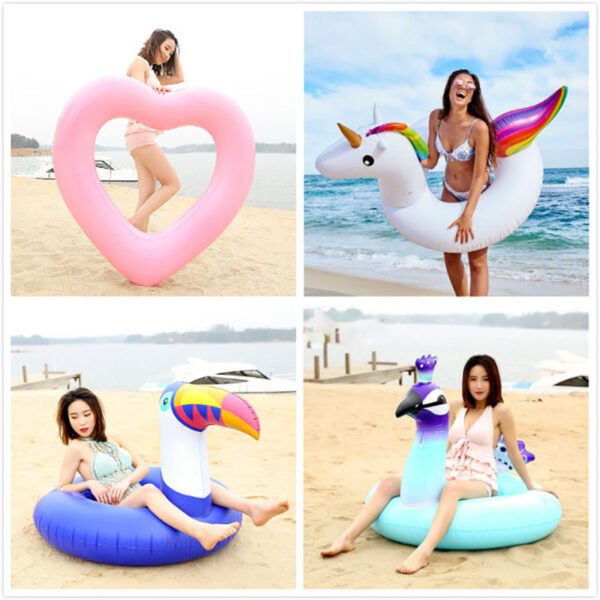 Flower Print Flamingo Swimming Ring Newest Pool Float Ins Hot Women Air Mattress Adult Children Inflatable Tube Beach Water Toys Swimming