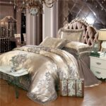 Flowers Jacquard luxury bedding set queen/king size bed set 4pcs cotton silk lace ruffles duvet cover Fitted/bed sheet sets Bedrooms
