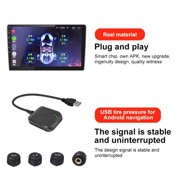 For Android USB TPMS for Car Radio DVD Player Tire Pressure Monitoring System Spare Tyre Internal External Sensor USB TMPS Car accessories