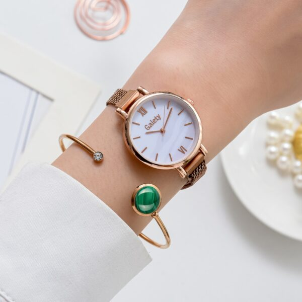Gaiety Brand Women Watches Fashion Magnetic Green Dial Ladies Quartz Watch Bracelet Set Simple Rose Gold Luxury Watch For Women Fashion Life & Accessories Iwatch & Accessories
