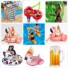 Giant Flower Print Swan Inflatable Float For Adult Pool Party Toys Green Flamingo Ride-On Air Mattress Swimming Ring boia Swimming