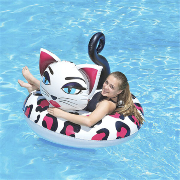 Giant Inflatable Painted Cat Pool Float Pink Ride-On Swimming Ring Adults Children Water Holiday Party Toys Piscina Swimming