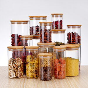 Glass Jar with Lid Cookie Jar Kitchen Jars and Lids Mason candy Jar for Spices Glass Container Wholesale Kitchen