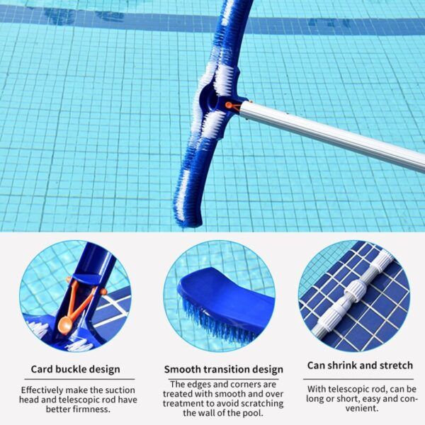 Hard Curved Swimming Pool Brush Cleaning Tools Spa Wall & Floor Brush Nylon Bristles Cleaner Broom Swimming Pool Accessories Swimming
