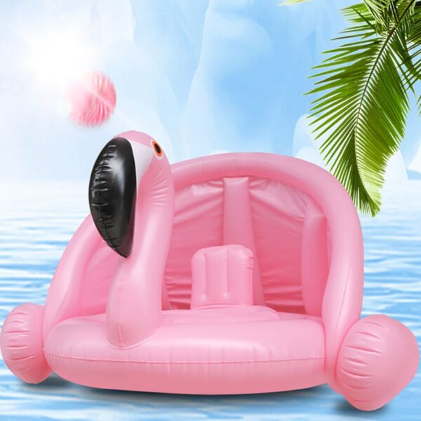 Inflatable Flamingo Swan Giant Pool Float Toys for Kids Baby Swimming Ring Circle Mat With Sunshade Swimming Pool Floats Swimming