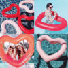 Inflatable Pink Heart Giant Pool Float Smile Face Print Swimming Ring Party Adults Kids Pool Summer Water Boia Piscina Party Toy Swimming
