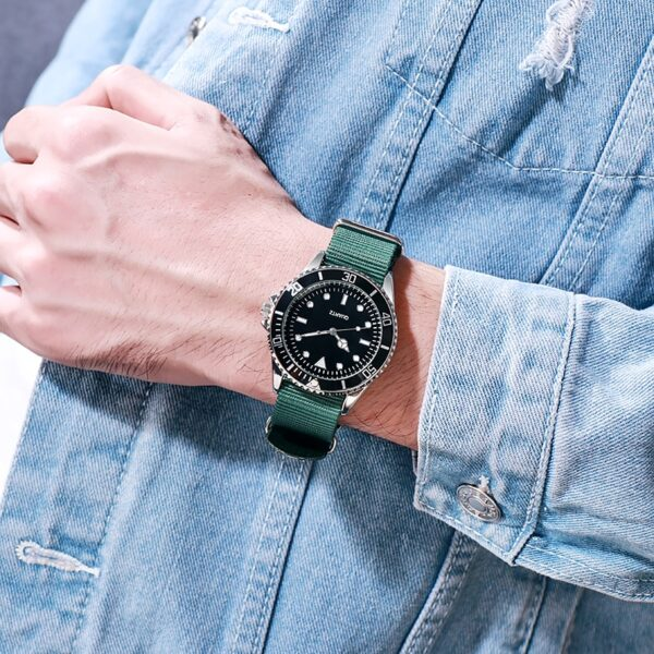 Japan Movement Men Quartz Watch Removable Nato Nylon Strap Classic Analog Spinning Dial Luminous Waterproof Fashion Life & Accessories Iwatch & Accessories