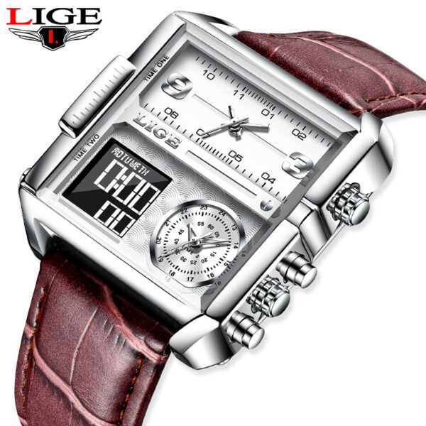 LIGE Luxury Top Men Quartz Analog Digital Sport Watches Military LED Watch Men's Waterproof Clock Square Dial Leather Wristwatch Fashion Life & Accessories Iwatch & Accessories
