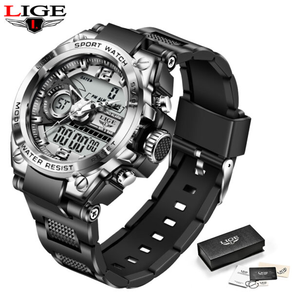 LIGE Top Sport Men Watches Military Silicone Strap LED Dual Display Watch Male Quartz Wristwatch For Men Clock Waterproof Hours Fashion Life & Accessories Iwatch & Accessories