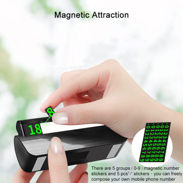 Luminous Pressure Car Temporary Parking Card Telephone Number Plate Card Magnetic Adsorption Car Styling for Auto Accessories Car accessories