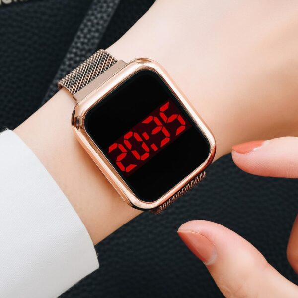 Luxury Digital Magnet Watches For Women Rose Gold Stainless Steel Dress LED Quartz Watch Female Clock Relogio Feminino Drop Ship Fashion Life & Accessories Iwatch & Accessories
