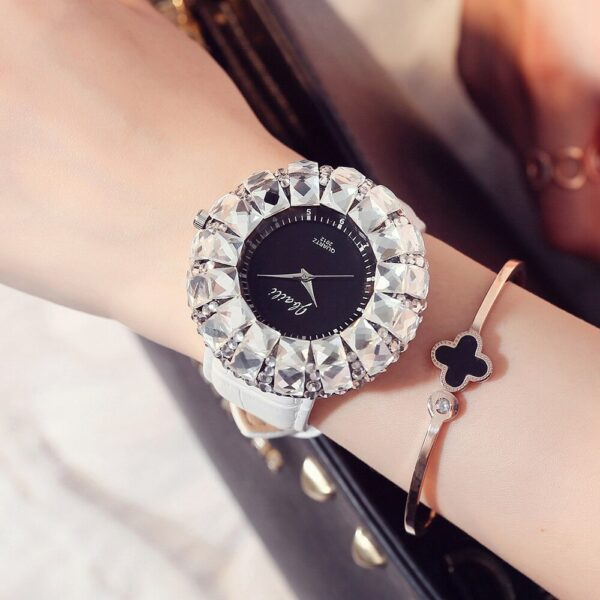 Luxury Large Crystal Dial Women Watches Fashion Red Leather Woman Watch Exquisite Casual Ladies Watch Female Clock Montre Femme Fashion Life & Accessories Iwatch & Accessories