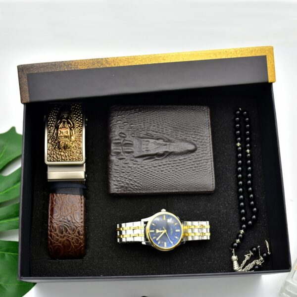 Luxury Men Gifts Set Fashion Men Stainless Steel Watch Top Quality Belt Folding wallet Men's Rosary Bracelet For Father's Men Fashion Life & Accessories Iwatch & Accessories