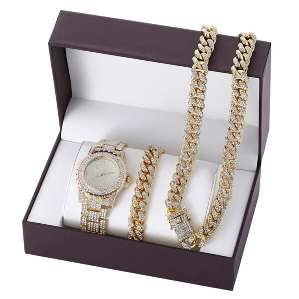 Luxury Men Watch Set Hip Hop Watches Necklace Bracelet Cuban Chain Gold Color Iced Out Paved Rhinestones Bling Jewelry For Men Fashion Life & Accessories Iwatch & Accessories