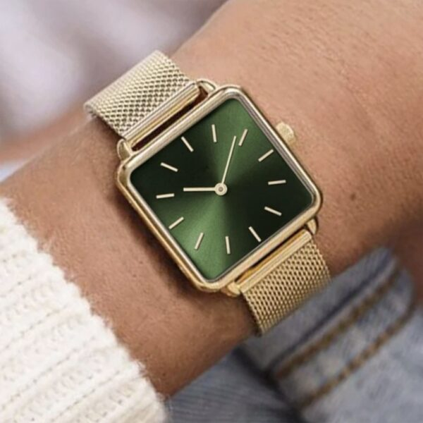 Luxury Square Gold Green Dial Quartz Watch Fashion Magnetic Watches for Women Fashion Watch Ladies Dress Bussiness Clock Fashion Life & Accessories Iwatch & Accessories