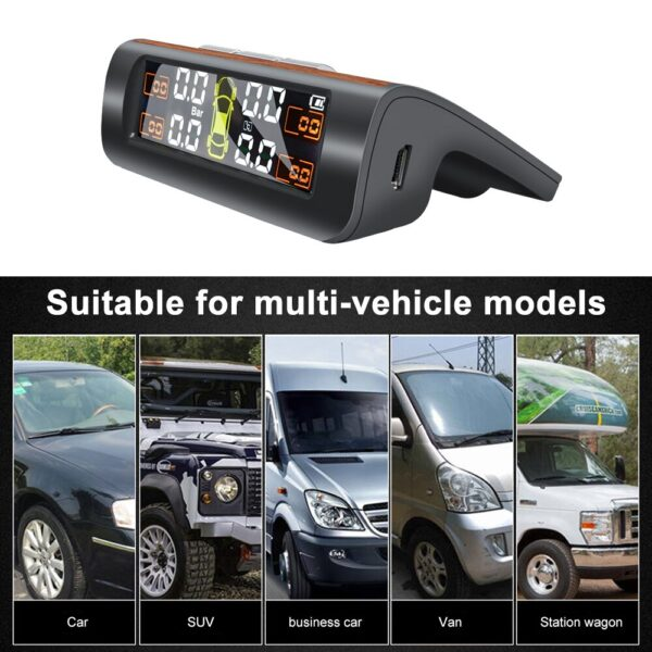 Luxury TPMS Solar Power TPMS Car Tire Pressure Alarm Monitor Auto Security System Tyre Pressure Temperature Warning Wood Car accessories