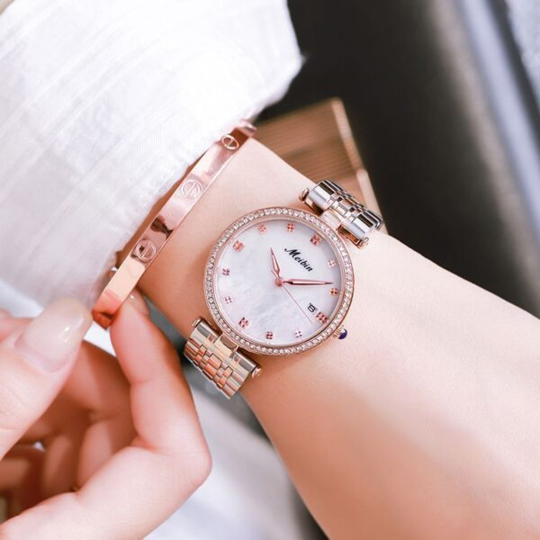 MEIBIN 2021 New Arrival Full Solid Stainless Steel Japan Movement Quartz Gift Rose Gold Ladies Top Brand Watches for Women Fashion Life & Accessories Iwatch & Accessories