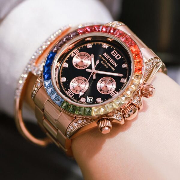 MEIBIN Chronograph Women Watches 2021 Ins Luxury Multi-Functional Rainbow Circle Watch For Stainless Steel Sports Female Watch Fashion Life & Accessories Iwatch & Accessories