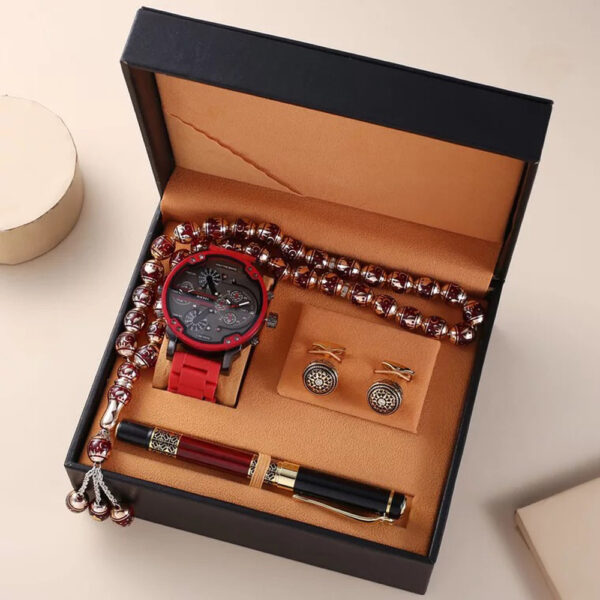 Man Watch Gift Set With High Quality Box Luxury Quartz WristWatch Rosary Bracelet Cufflinks Pen Mens Watches Set For Men' s Gift Fashion Life & Accessories Iwatch & Accessories