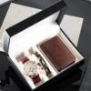 Man Watch Gifts Set Fashion Mens Quartz Wristwatch Business Watches With Cowhide Bracelets Wallet Box For Male's Father's Day Fashion Life & Accessories Iwatch & Accessories