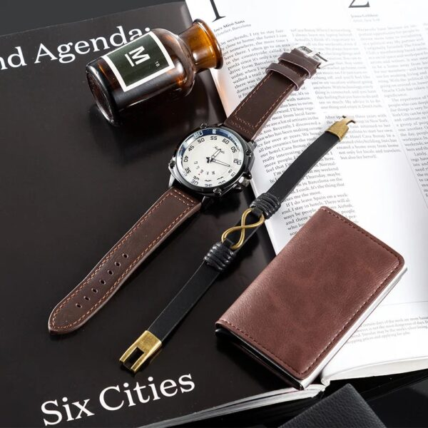 Man Watch Gifts Set Fashion Mens Quartz Wristwatch Learther Watches With Cowhide Bracelets Wallet Box For Male's Father's Day Fashion Life & Accessories Iwatch & Accessories