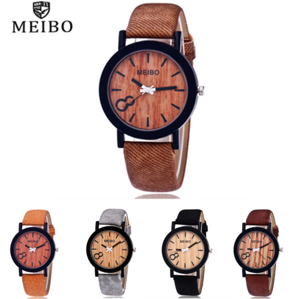 Meibo Modeling Wooden Quartz Mens Watch Casual Wooden Color Leather Watch Dames Horloges Wall Clock Modern Design Sticker 30 Fashion Life & Accessories