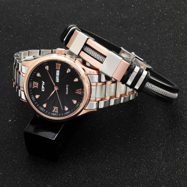 Men Analog Quartz Watch Steel Silicone Bracelet Waterproof Stainless Steel Strap Retro Rose Gold Diamond Dial Dropshipping Fashion Life & Accessories Iwatch & Accessories