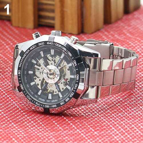 Men Hand-Winding Skeleton Automatic Mechanical Stainless Steel Sport Wrist Watch Military army clock Relojes Fashion Life & Accessories Iwatch & Accessories
