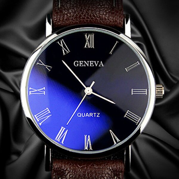 Men Roman Numerals Blu-Ray Faux Leather Band Quartz Analog Business Wrist Watch 2020 Newest Round Shape Stainless Steel Watch Fashion Life & Accessories Iwatch & Accessories