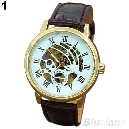 Mens Roman Numerals Stainless Steel Mechanical Skeleton Hollow Sport Wrist Watch Fashion Life & Accessories Iwatch & Accessories