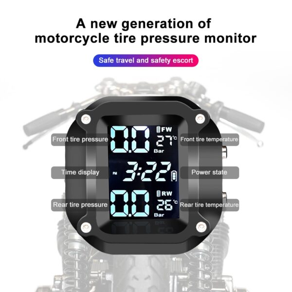 Motorcycle TPMS Motor Tire Pressure Tyre Temperature Monitoring Alarm System with 2 External Sensors motos USB Charging Fashion Life & Accessories Iwatch & Accessories